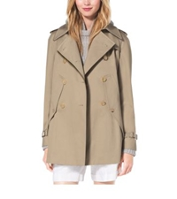 Michael Kors Cotton Gabardine Trench Cape Sand