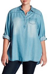 Want And Need Roll Tab Chambray Shirt Plus Size Blue