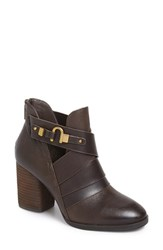 Isola Women's 'Ladora' Block Heel Bootie Dark Brown Leather