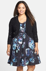 Eliza J Sequin Bolero Cardigan Plus Size Black