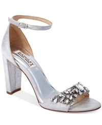 Badgley Mischka Barby Ankle Strap Evening Sandals Women's Shoes Silver