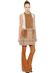 Drome Shearling And Wool Houndstooth Long Vest