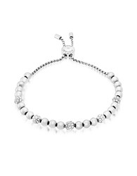 Michael Kors Brilliance Stainless Steel And Crystals Beads Bracelet Silver