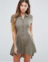 Unique 21 Drop Hem Skater Dress Khaki Green
