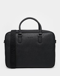 Emporio Armani Armani Jeans Laptop Bag In Faux Saffiano Leather Black
