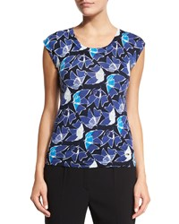 Escada Heather Flower Print Tank Multi Colors