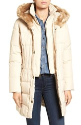 Larry Levine Women's Quilted Down And Feather Fill Coat With Faux Fur Trim Hood