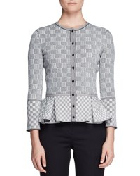 Alexander Mcqueen Check Tweed Peplum Cardigan Black White Black White
