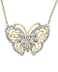 Kaleidoscope 18K Gold Over Sterling Silver Necklace White Crystal Butterfly Pendant With Swarovski Elements