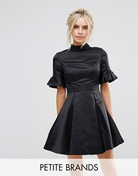Chi Chi London Petite High Neck Mini Dress With 3 4 Sleeve And Frill Detail Black