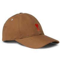 Ami Alexandre Mattiussi Logo Embroidered Cotton Twill Baseball Cap Brown