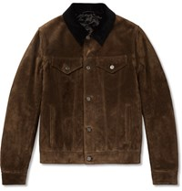 Berluti Corduroy Trimmed Suede Jacket Brown