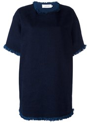 Marques Almeida Marques'almeida Raw Edge Denim T Shirt Dress Blue