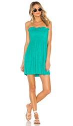 Indah Mercy Solid Strapless Mini Dress In Blue. Sea