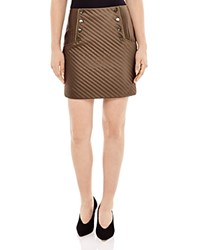 Sandro Womb Quilted Mini Skirt Khaki