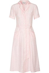 Hvn Maria Belted Printed Silk Satin Dress Baby Pink