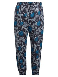 Etro Floral Print Linen Trousers Navy Multi