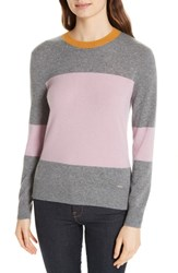 Ted Baker London Colour By Numbers Bryonny Colorblock Cashmere Sweater Grey Marl