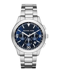 Michael Michael Kors Large Stainless Steel Chronograph Watch W Blue Dial