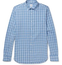 Aspesi Checked Cotton Seersucker Shirt Blue