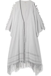 Caravana Yun Caax Fringed Distressed Cotton Gauze Robe Sky Blue