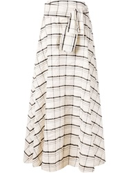 Novis Plaid Long Skirt White