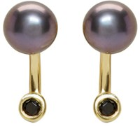 Pamela Love Ssense Exclusive Gold And Black Pearl Gravitation Earrings