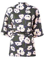 Marni Whisper Print Open Back Blouse Green