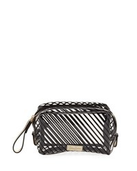 Neiman Marcus Striped Transparent Toiletry Bag Clear