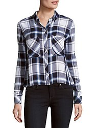 Rails Dylan Point Collar Plaid Button Down Shirt White Navy