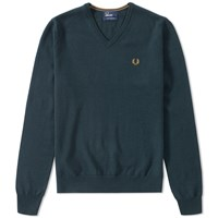 Fred Perry Classic V Neck Sweater Green