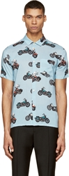 Marc By Marc Jacobs Ore Blue Motorcycle Print Short Sleeve Shirt