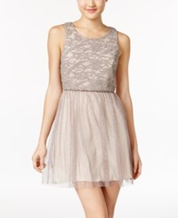Emerald Sundae Juniors' Lace Fit And Flare Dress Taupe Multi