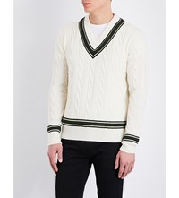 Kent And Curwen Striped Knitted Wool Jumper White