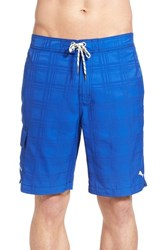 Men's Tommy Bahama 'Baja Plaid' Board Shorts Cobalt Haze