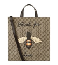 Gucci Bee Blind Logo Tote Unisex Beige