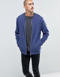 Asos Jersey Bomber Jacket In Blue Pitch Blue