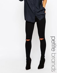 New Look Petite Disco Knee Rip Jean Black