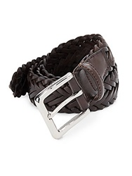 Cole Haan Woven Leather Belt Chocolate