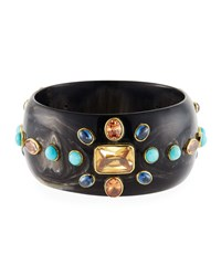 Ashley Pittman Bure Dark Horn Bangle W Mixed Stones Brown