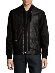 Members Only Double Front Zip Bomber Jacket Black