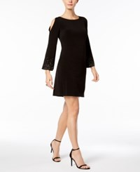 Jessica Howard Petite Embellished Cold Shoulder Dress Black