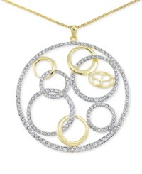 Sis By Simone I Smith Sis By Simone I. Smith Crystal Multi Circle Pendant Necklace In 18K Gold Over Sterling Silver Yellow Gold