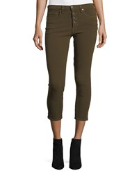 Veronica Beard Debbie Button Fly Cropped Jeans Olive