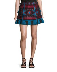Vita Kin Embroidered Linen A Line Mini Skirt Black Red Black Red