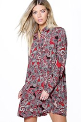 Boohoo Paisley Long Sleeve Shirt Dress Red