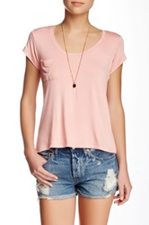 Sweet Romeo Short Sleeve Sccop Neck Pocket Tee Pink