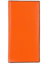Valextra Rectangular Grained Wallet Yellow Orange