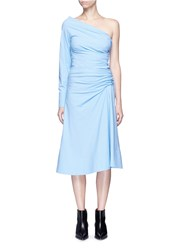 Emilio Pucci Ruched One Shoulder Cotton Poplin Dress Blue