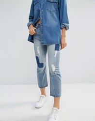 Only Cropped Boyfriend Jeans With Patches Medium Blue Denim